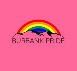 Rainbow above a mountain with text Burbank Pride underneath on a pink background.