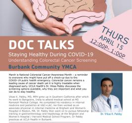 flyer for the April doc talks with doctor on April 15th at 12:00pm