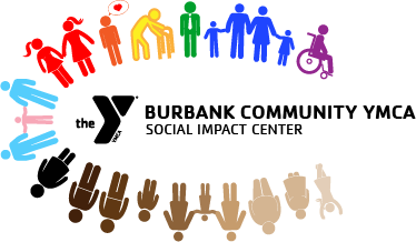 social impact center logo with a diverse background of silhouette of people